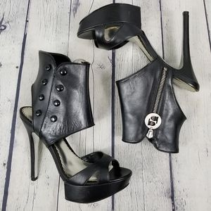 BEBE | Venice leather open toe platform high heels